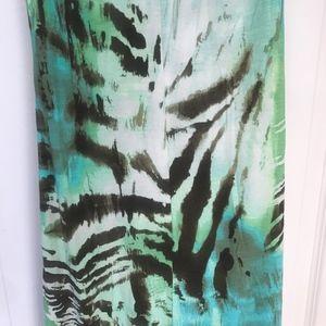 Sky Dresses - Sky mint zebra patterned maxi dress